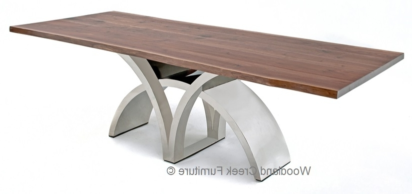Popular Contemporary Base Dining Tables Intended For Dining Table With Contemporary Stainless Steel Base (View 15 of 20)