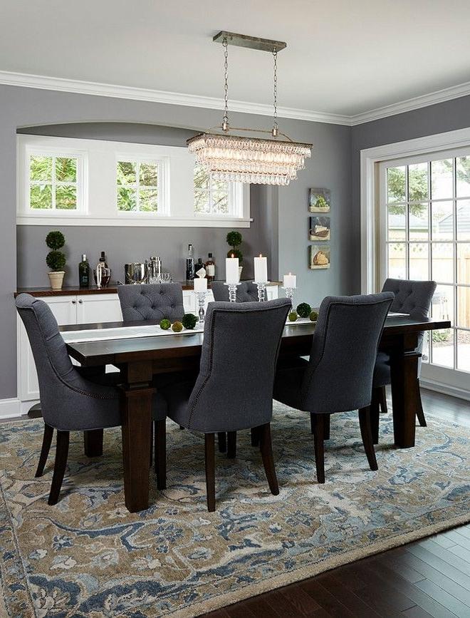 Popular Dark Wood Dining Room Furniture Regarding Deep Silverbenjamin Moore (View 15 of 20)