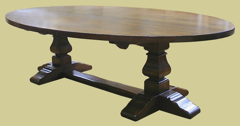 Popular Dining Tables With Large Legs Pertaining To Large Oval Oak Pedestal Dining Table With Square Cut Legs (View 17 of 20)