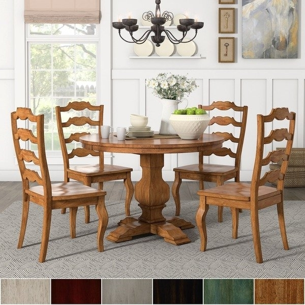 Popular Eleanor Oak Round Soild Wood Top Ladder Back 5 Piece Dining Set Throughout Caden 5 Piece Round Dining Sets (View 19 of 20)