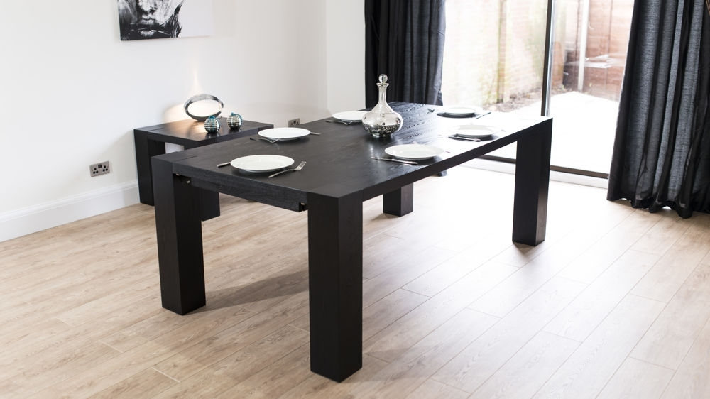 Popular Extending Black Dining Tables Inside Large Black Ash Wooden Extending Dining Table (View 15 of 20)