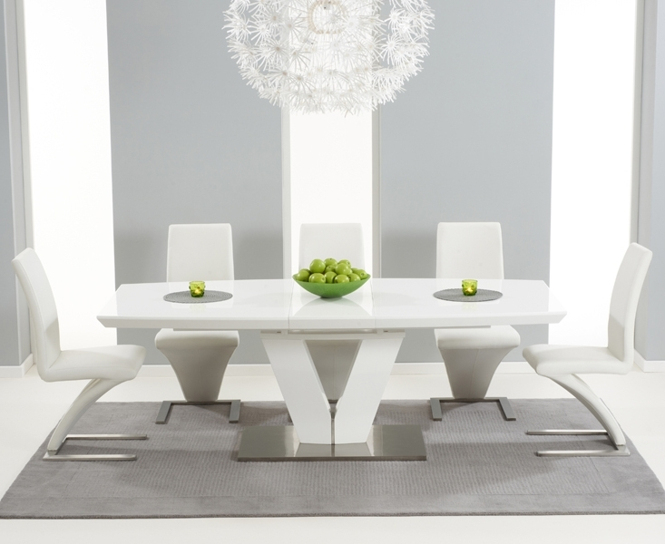 Popular Extending White Gloss Dining Tables In Malaga 180Cm White High Gloss Extending Dining Table With Hampstead (View 13 of 20)