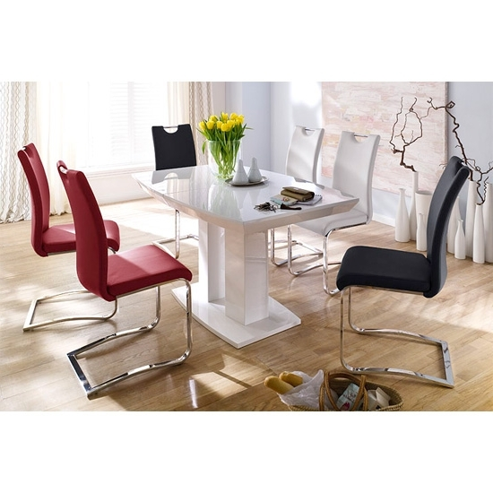 Popular Genisimo High Gloss 4 Seater Dining Table With Koln Chairs Pertaining To High Gloss Dining Room Furniture (View 16 of 20)