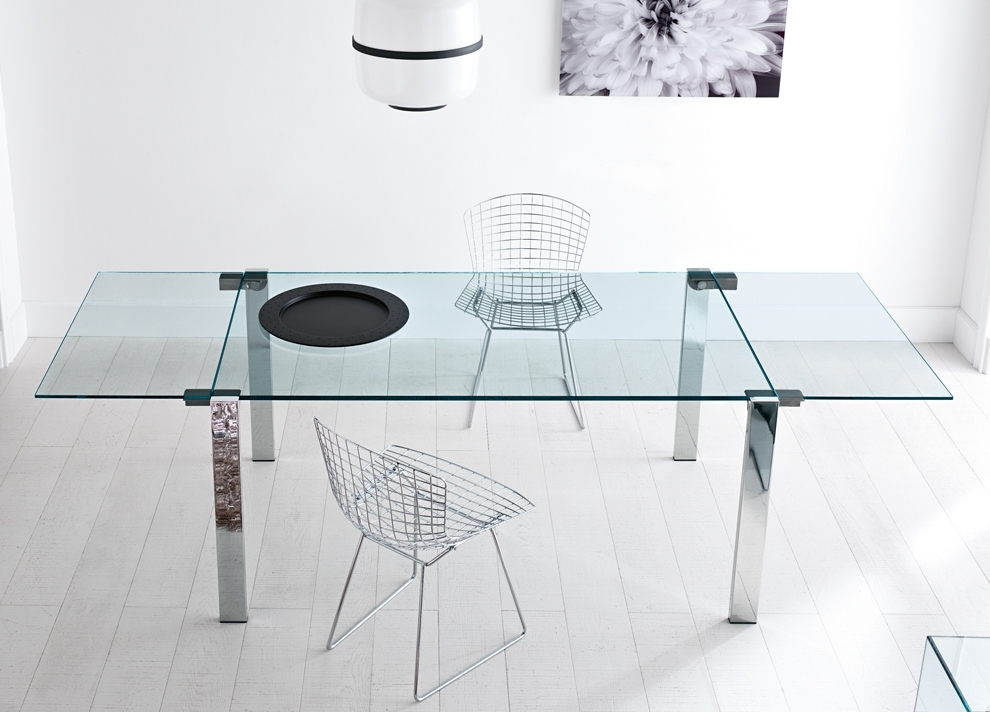 Popular Glass Folding Dining Tables Inside Tonelli Livingstone Extending Glass Dining Table – Extending Glass (View 14 of 20)