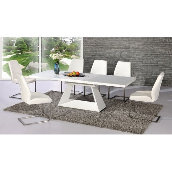 Popular Gloss White Dining Tables And Chairs With Regard To Amsterdam White Glass And Gloss Extending Dining Table (View 4 of 20)
