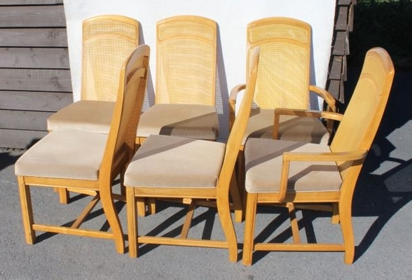 Popular Golden Oak Parquet Extendable Table With 6 Dining Chairs, 1960S For Intended For Parquet 6 Piece Dining Sets (View 12 of 20)