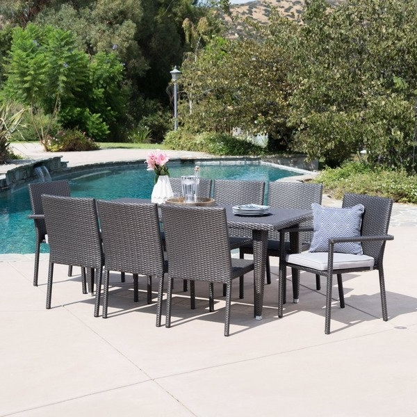 Popular Grady Round Dining Tables Regarding Shop Grady Outdoor 9 Piece Rectangular Wicker Dining Set With (View 4 of 20)