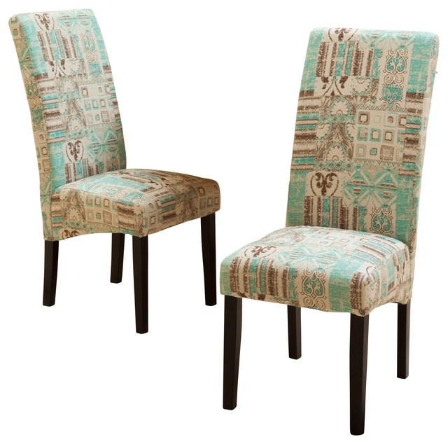 Popular India Geometric Fabric Dining Chairs, Set Of 2 – Mediterranean Within Fabric Dining Room Chairs (View 17 of 20)