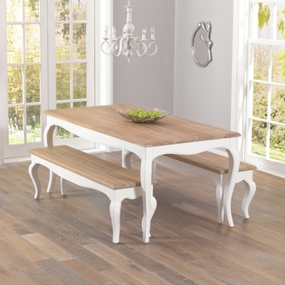 Popular Ivory Painted Dining Tables Pertaining To Seville Ivory Painted Distressed Dining Table With 2 Benches (View 3 of 20)