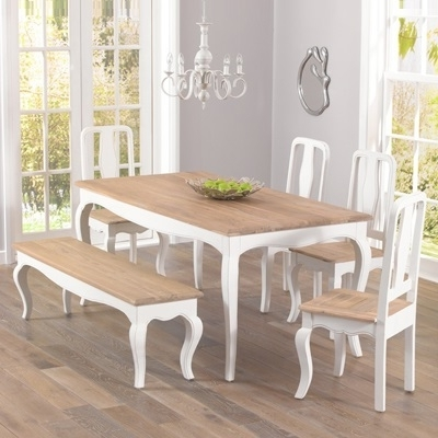 Popular Ivory Painted Dining Tables Within Seville Ivory Painted Distressed Dining Table With 4 Chairs & Bench (View 7 of 20)