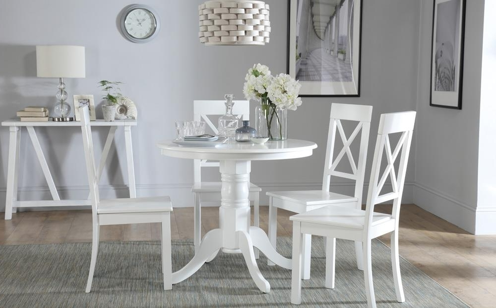 Popular Kingston Dining Tables And Chairs Inside Kingston Round White Dining Table With 4 Kendal Chairs Only £ (View 2 of 20)