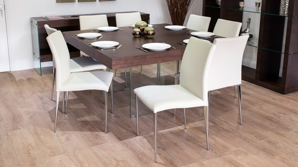 Popular Large Square Dark Wood Dining Set With Glass Legs (View 17 of 20)