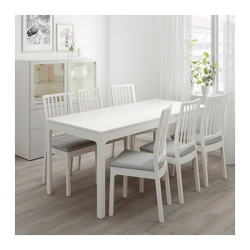 Popular Lassen 7 Piece Extension Rectangle Dining Sets In Ekedalen Extendable Table, White (View 3 of 20)
