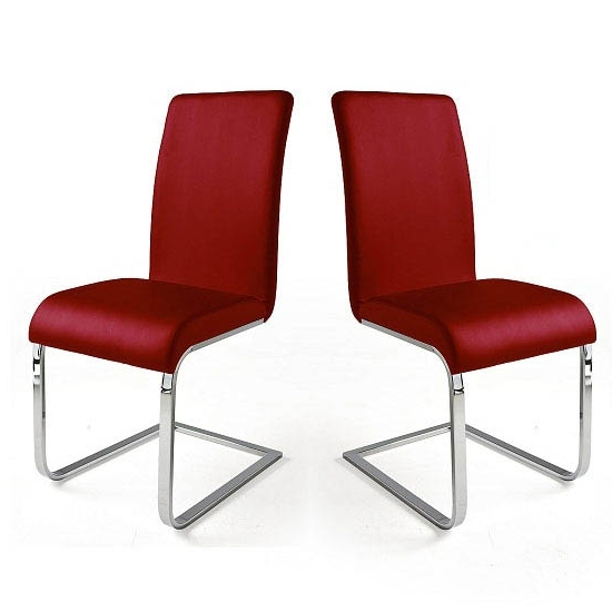 Popular Lotte I Red Faux Leather Dining Chair In A Pair 22697 With Red Leather Dining Chairs (View 7 of 20)