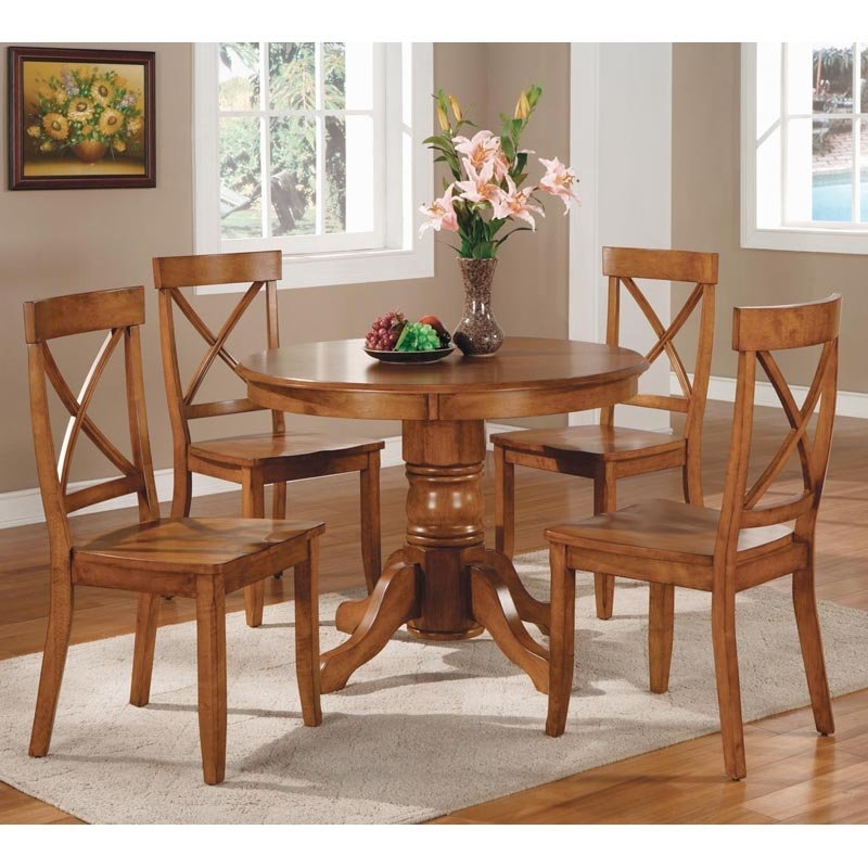 Popular Macie 5 Piece Round Dining Sets Within Round Dinner Table Set – Castrophotos (View 15 of 20)
