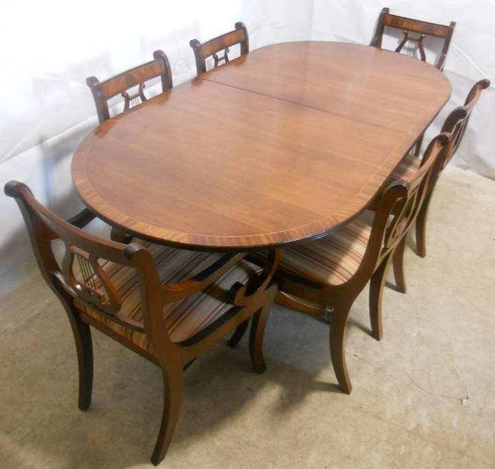 Popular Mahogany Extending Dining Tables And Chairs With Sold – Regency Style Mahogany Extending Dining Table And Matching (View 15 of 20)