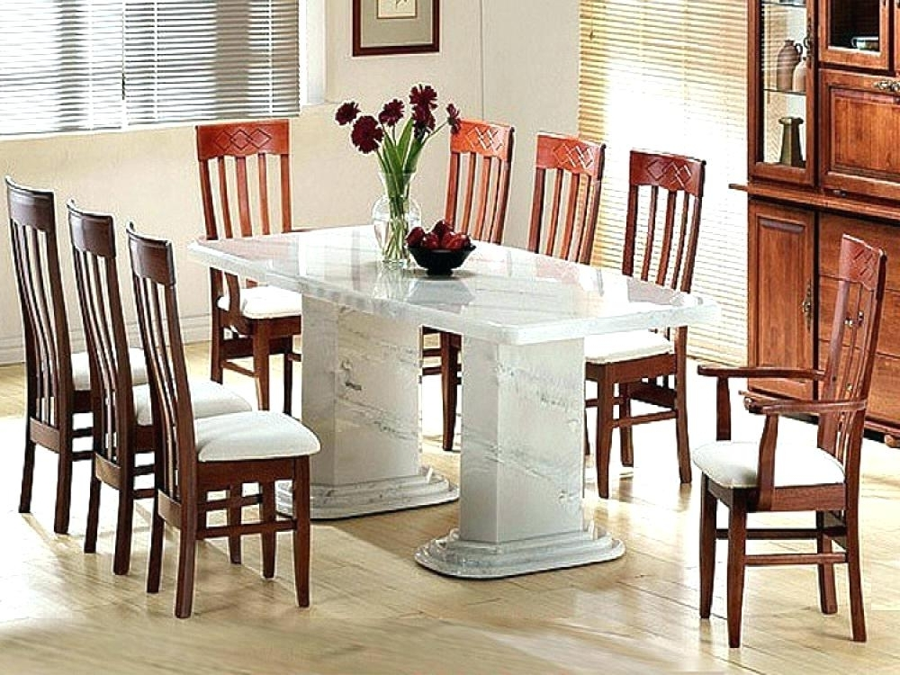 Popular Marble Dining Tables Sets Pertaining To White Marble Dining Table – Energeticos (View 19 of 20)