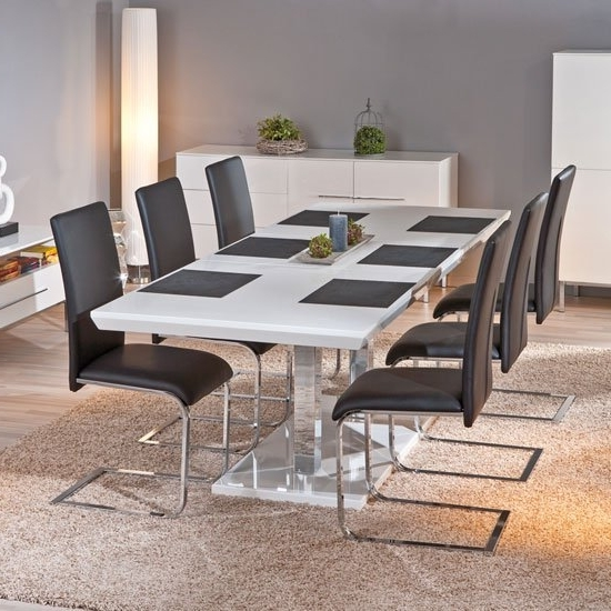 Popular Monton Extendable White Gloss Dining Table With 6 Trishell With White Gloss Dining Tables 140Cm (View 11 of 20)
