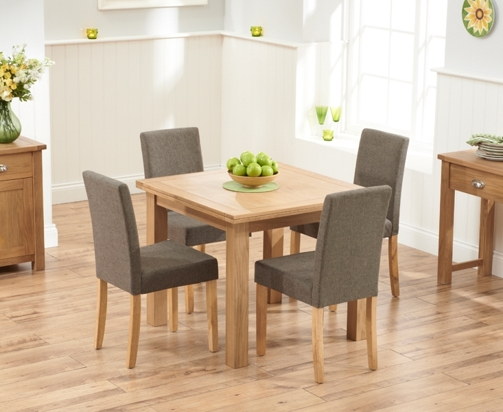 Popular Oak Dining Tables And Fabric Chairs Intended For Udine Solid Oak 90Cm Flip Top Extending Dining Set With 4 Worksop (View 17 of 20)