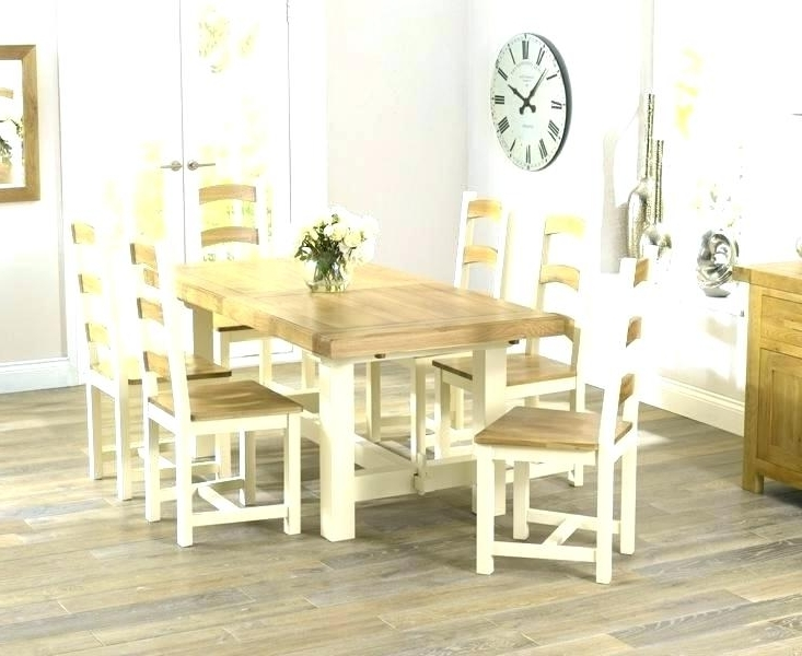 Popular Oak Painted Dining Table Grey Furniture Blue Cream Room Chairs Throughout Cream And Oak Dining Tables (View 15 of 20)