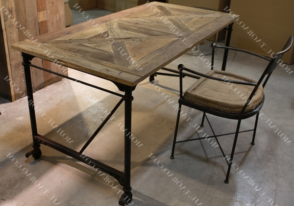 Popular Parquet Dining Tables Within American French European Industry To Do The Old Style Wrought Iron (View 16 of 20)