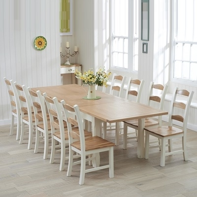 Popular Sandiego Oak And Cream 180Cm Extending Dining Table With 10 Chairs Throughout Dining Table And 10 Chairs (View 13 of 20)