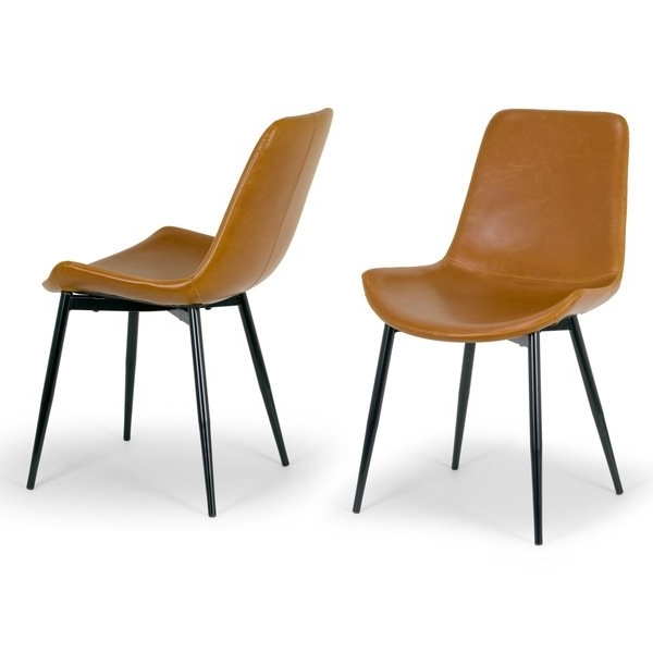 Popular Shop Alary Caramel Brown Faux Leather Modern Dining Chair (Set Of 2 Inside Leather Dining Chairs (View 16 of 20)