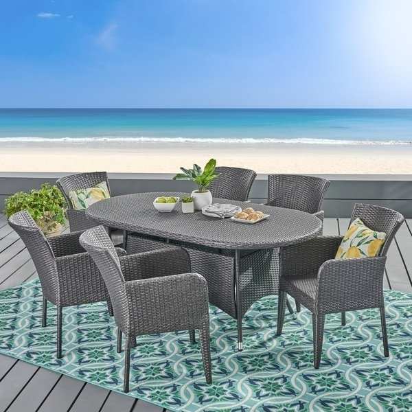 Popular Shop Corsica Outdoor 7 Piece Wicker Dining Setchristopher Knight Pertaining To Delfina 7 Piece Dining Sets (View 15 of 20)