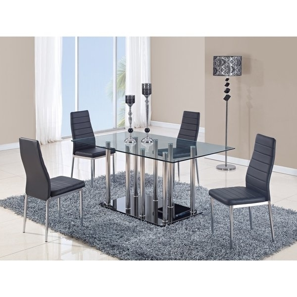Popular Shop Global Furniture Clear Glass And Chrome Stainless Steel Dining With Regard To Glass And Stainless Steel Dining Tables (View 16 of 20)