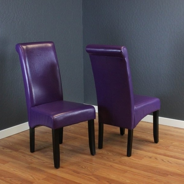 Popular Shop Monsoon Milan Boysenberry Faux Leather, Foam, And Espresso Inside Purple Faux Leather Dining Chairs (View 11 of 20)