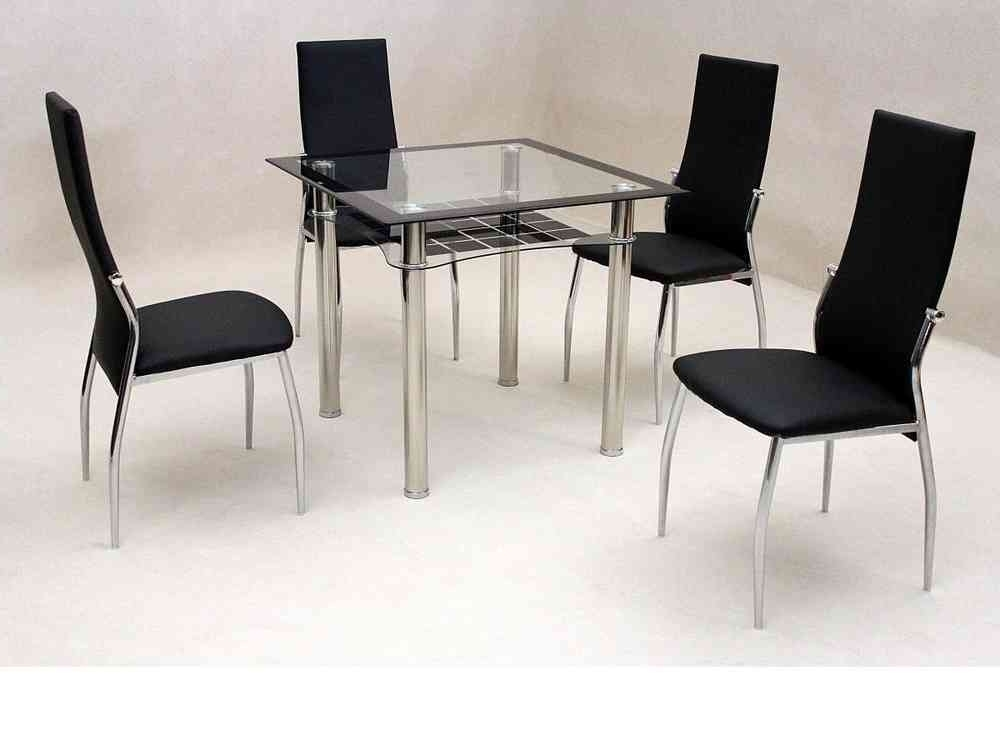 Popular Small Square Clear & Black Glass Dining Table And 4 Chairs Inside Square Black Glass Dining Tables (View 13 of 20)