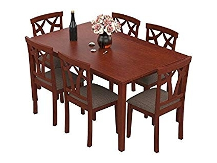 Popular Solid Wood Dining Tables For Forzza Aspen Six Seater Solid Wood Dining Table Set (Oak): Amazon (View 10 of 20)