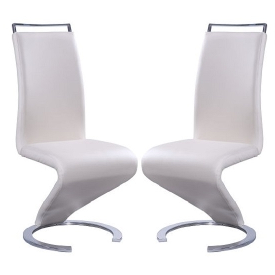 Popular Summer Z Shape Dining Chair In Cream Faux Leather In A Pair Within Cream Faux Leather Dining Chairs (View 7 of 20)