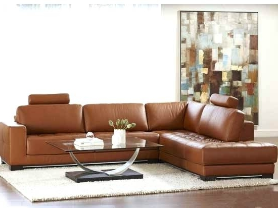 Popular Tenny Cognac 2 Piece Left Facing Chaise Sectionals With 2 Headrest In Cognac Leather Sectional Sofa (View 11 of 15)