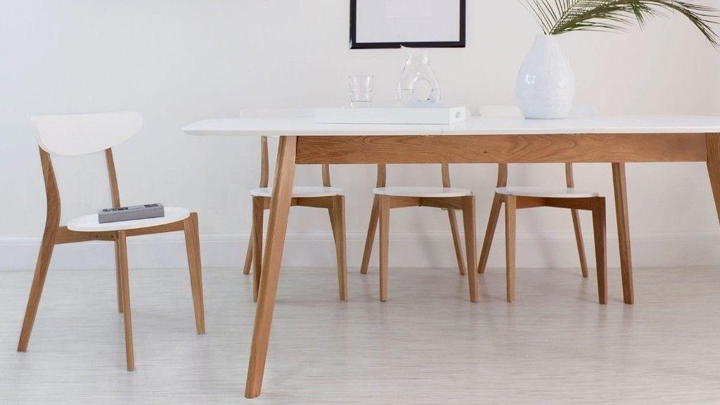 Popular White Extending Dining Tables Inside Brand New Aver Oak & White Luxurious Oak And White Extending Dining (View 14 of 20)