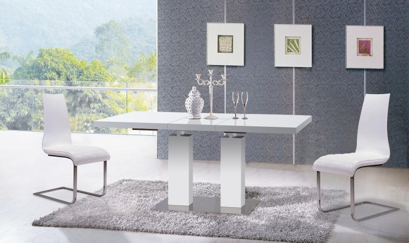 Popular White Ultra Modern Dining Table W/extension Contemporary At Home Usa With Delfina Dining Tables (View 14 of 20)