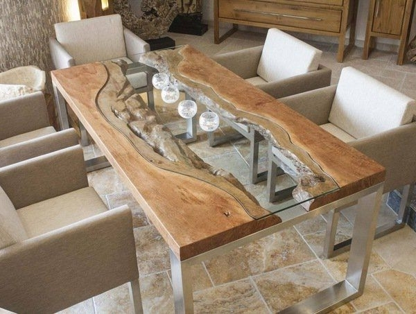 Popular Wood Slab Dining Table Designs Glass Wood Metal Modern Dining Room In Modern Dining Room Furniture (View 16 of 20)