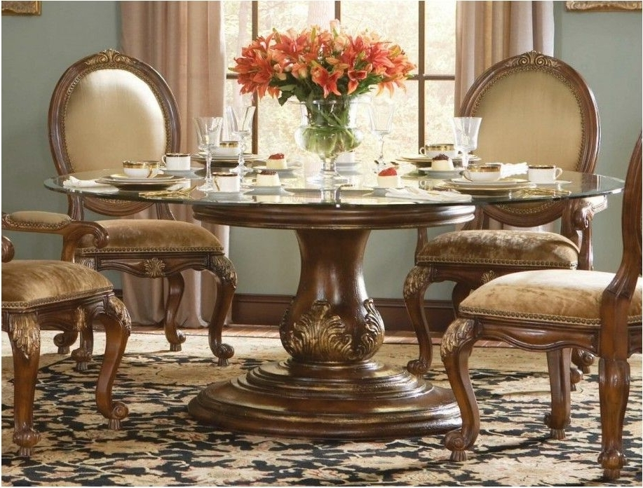 Popular Wooden Glass Dining Tables Within Remarkable Impressive Traditional Round Glass Dining Table Glass (View 15 of 20)