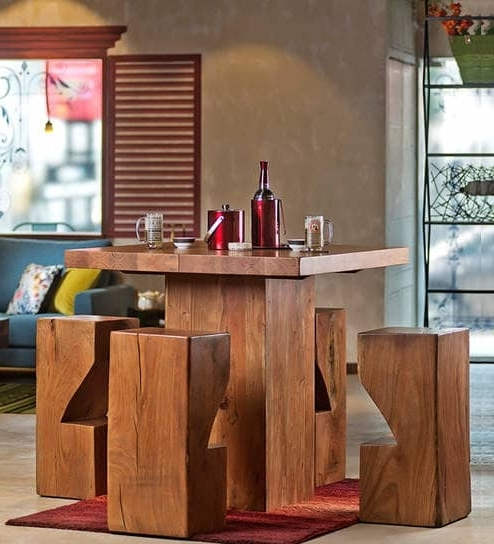 Portland 78 Inch Dining Tables With Regard To Well Known Buy Portland Solid Wood Four Seater Dining & Bar Set In Natural (View 13 of 20)