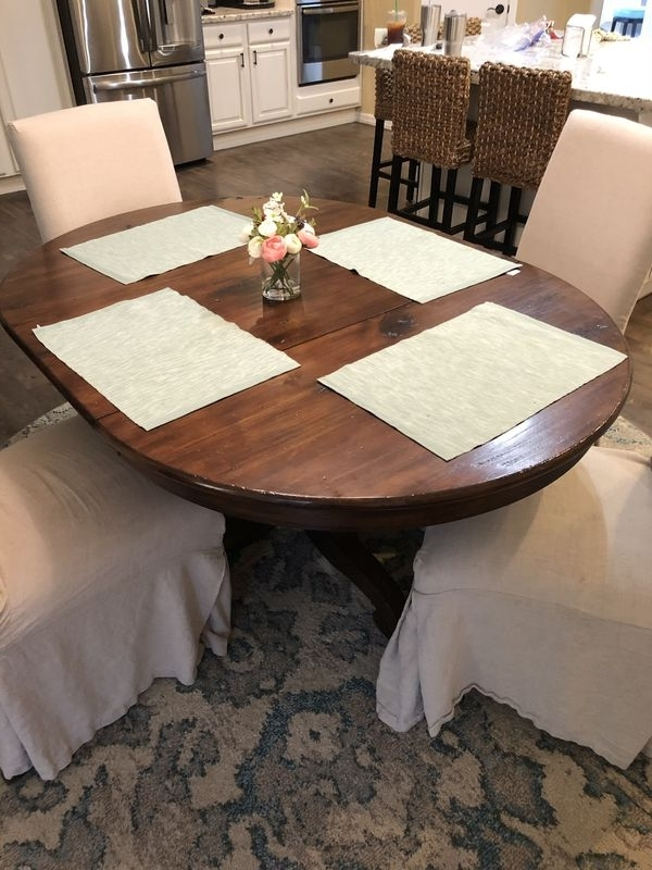 Pottery Barn Sumner Pedestal Extending Dining Table For Sale In Pertaining To Most Recent Chandler Extension Dining Tables (View 18 of 20)