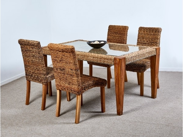 Preferred Abaca Milan Dining Table And 4 Chairs Pertaining To Rattan Dining Tables (View 8 of 20)