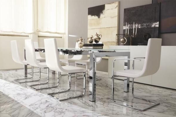 Preferred Airport, Modern Extending Dining Table With A White Glass Top And In Chrome Dining Tables (View 11 of 20)