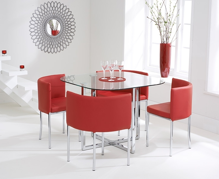 Preferred Algarve Glass Stowaway Dining Table With Red High Back Stools Within Red Dining Table Sets (View 7 of 20)