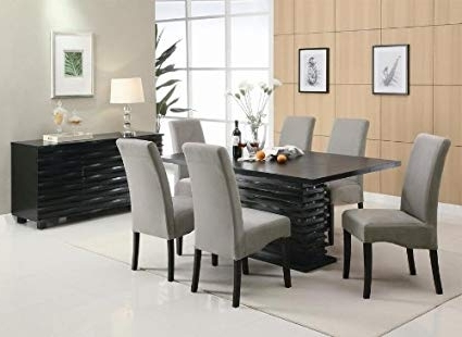 Preferred Amazon – Stanton Contemporary 7 Pc Black And Gray Dining Table Intended For Black Dining Tables (View 16 of 20)