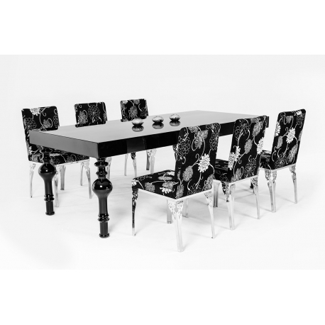 Preferred Black High Gloss Dining Tables Throughout Modrest Nayri – Transitional Black High Gloss Dining Table – Jubilee (View 17 of 20)