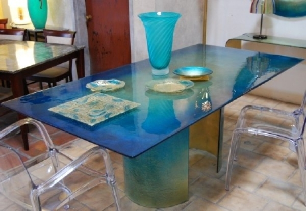 Preferred Blue Dining Tables Inside Blazzing House: Modern And Attractive Glass Dining Table Design With (View 6 of 20)