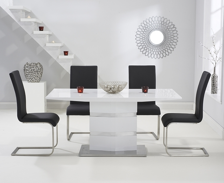Preferred Buy Mark Harris Springfield White High Gloss Dining Set – 160Cm With Black High Gloss Dining Tables And Chairs (View 15 of 20)