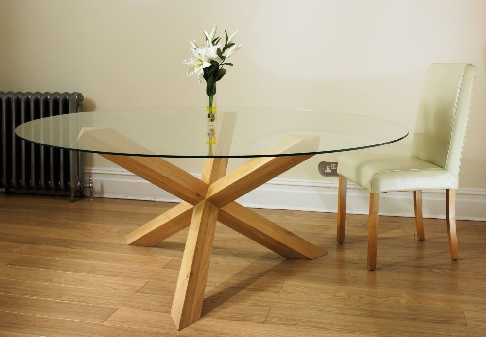 Preferred Buy Tfw New Court Solid Oak Glass Round Dining Table – Pedestal With Oak Glass Dining Tables (View 16 of 20)