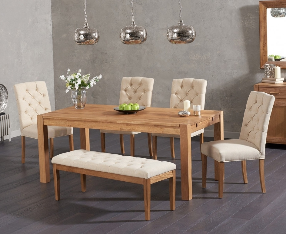 Preferred Candice Ii Extension Rectangle Dining Tables Inside Verona 150Cm Solid Oak Dining Table With Candice Fabric Chairs And (View 11 of 20)