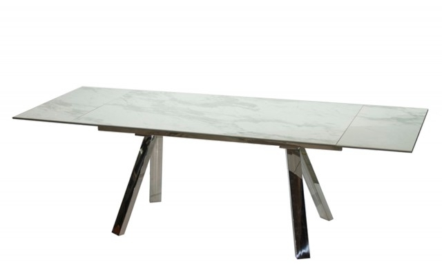 Preferred Cantania – White Extending Marble Top Dining Table – Fishpools For Extendable Dining Tables (View 17 of 20)